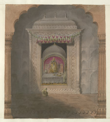 Interior of a temple at Brindaban
